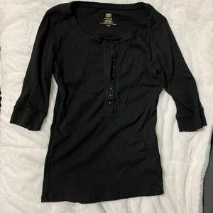 Black 3/4 sleeve button up top